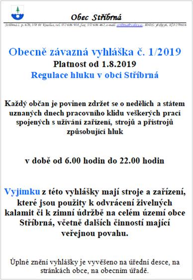 OZV 1/2019 - regulace hluku